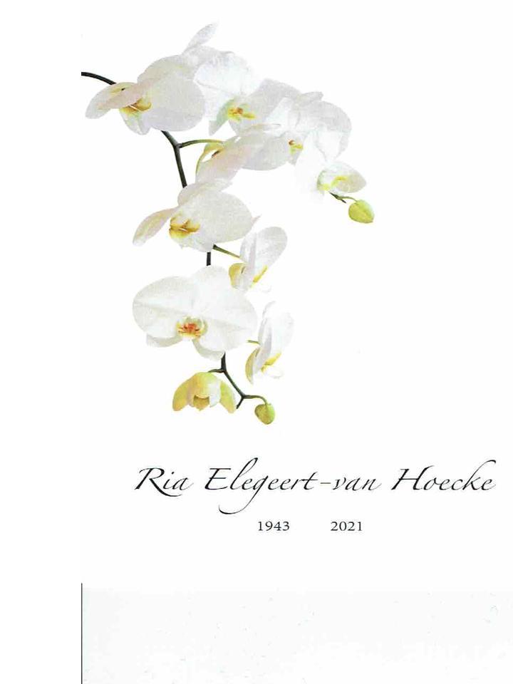 Ria Elegeert overleden